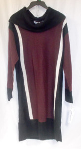 Ny Collection Cowl Neck Sweater Dress Black White Wine M NWT