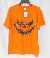 Gildan Orange Jack O Lantern Face Short Sleeved Halloween T Shirt Costume Accessory Mens L  NWT