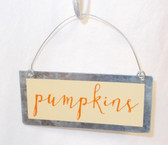 "Gordman's Pumpkins Metal Sign Halloween Decor 4.5"" NWT"