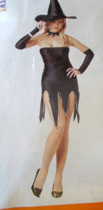 Escort Witch Adult Costume Black Silver Sequins Small NIP