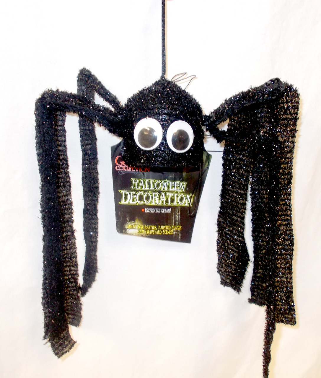 ShopKo Gothic Collection Spooky Sounding Hanging Halloween Black Spider 11 1 2in NIP