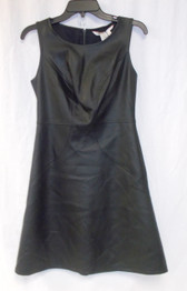 Studio M Dress Black Faux Leather Illusion Seamed Sleeveless Dress S NWT