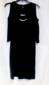 Style & Co. Cold Shoulder Attached Gold Necklace Blouson Black Dress 4 NWT