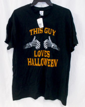 Gildan This Guy Loves Halloween Black Short Sleeved T Shirt Costume Accessory Mens L NWT