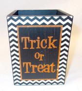 Black Orange White Trick or Treat Wood Candle Holder Halloween Decor 4in NIP