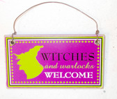 Black Purple Green White Witches and Warlocks Welcome Hanging Wood Halloween Decor Sign  4in NIP