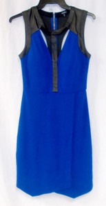 Xoxo Juniors' Faux Wrap Cutout Royal Blue Sheath Dress Black Faux Leather Trim M NWT