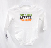 Carters White Black Green Orange Mommy's Little Monster Long Sleeve One Pc Child 6M NIP