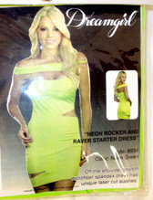 Dream Girl Neon Green Rocker Raver Dress Costume Adult S M NIP