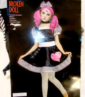 Fun World Pink Black White Broken Doll Costume Dress Child S M L NIP