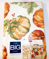 "Kohls Celebrate Fall Tablecloth Pumpkin Pumpkins Oblong 60 x 102"" NWT"