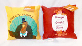 "Kohl's Celebrate Fall Thankful Grateful Blessed Turkey Gobble Til You Wobble Velour Pillows Fall Decoration Burgandy Gold 9"" Lot 2 NWT"