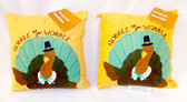 "Kohl's Celebrate Fall Turkey Gobble Til You Wobble Velour Pillows Fall Decoration Burgandy Gold 9"" Lot 2 NWT"