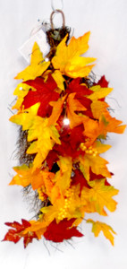 "Fall Grapevine LED Wall Decor Orange Red Leaves Berries 24"" NWT"