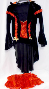 Music Leg Black Red Gold Vampire Countess Costume Dress ML XL NIP