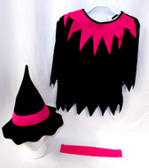 Fun World Black Pink Lil Witch Costume Dress 24-2T 3-4T NIP