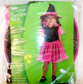 Disguise Black Pink Star-Glow Witch Costume Dress  2-4 4-6 NIP