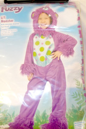 Fuzzy Lil Monster Purple Costume Jumpsuit Hat Child 24M NIP