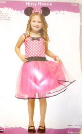 Fun World Pink Black White Missy Mouse Costume Dress L 3T-4T NIP