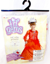 Disguise Lil' Gems Red Ruby Princess  Child Costume Dress Petticoat Ring  Child 7-8 NIP