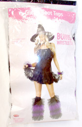 Fun World Glitter Boot Tops Wristlets Tulle Ruffles Womens Costume Accessory Black Purple OSFM NIP