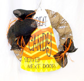 "Burlap Grapevine Wreath Black Burlap Great Candy Served Next Door Orange Raffia Halloween Decoration Home Decor 17"" New OOAK"