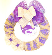 "K State Team Spirit Wooden Cutout Burlap Ribbon Grapevine Wreath 16"" New OOAK"