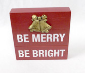 """New View Be Merry Be Bright Box Sign Art Christmas Decoration Wood Resin Red Gold 6"""" NWT"""