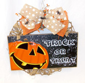 "Trick Or Treat Pumpkin Jack O Lantern Burlap Ribbon Black Spiders Grapevine Burlap Wreath Halloween Decoration Home Decor 16"" New OOAK"
