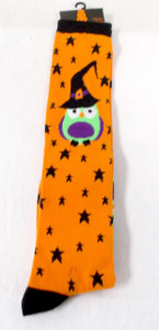Shopko Halloween Knee High Socks Orange Black Stars Owls Womens 4-10 NWT