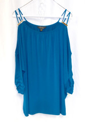 Thalia Sodi Womens Cold-Shoulder Top Nocturnal Blue XL NWT