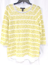 Style & Co Olive Green White Striped 3/4 Sleeve Sweater Women's M NWT