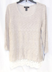 Style & Co Women's Lace Hem Marlbed Pullover Sweater Natural heather L NWT