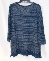 Style & Co Women's Lace Hem Marbled Sweater Industrial Blue XL NWT