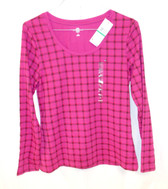 Tommy Hilfiger Fuchsia Checked Long-sleeve Scoop Neck Tee L NWT