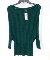 Thalia Sodi Womens Green Metallic Dolman Sleeves Ribbed Sweater S NWT