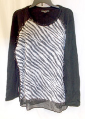 Style & Co Women's Eyelash Zebra Print Knit Chiffon Trim Sweater XL NWT