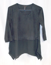 Style & Co Black Faux-suede Pullover Top Sharkbite-hem S NWT