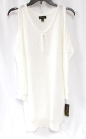 Thalia Sodi Womens Sequined Cold Shoulder Pullover Sweater Ivory L NWT