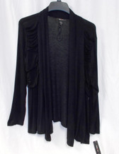 Style & Co Open Front Black Knit Jacket Ruched L NWT