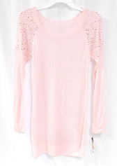 Thalia Sodi Womens Pink Embellished Pullover Long Women's Sweater Top S NWT
