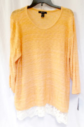 Style & Co. Womens Knit Marbled Pullover Sweater Orange Citrus XL NWT