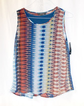 Style & Co Petite Multi Sleeveless Pleat-back Geo-print Top L NWT