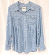 Style & Co Womens Baby Paisley Printed Denim Shirt Blue M NWT