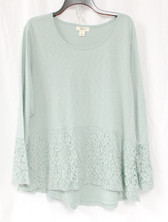 Style & Co Womens Lace Peplum Top Dusty Jade XL NWT