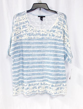 Style & Co Womens Blue White Striped Pullover Short Sleeve Top Crochet Trim L NWT