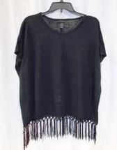 Style & Co True Deep Black Womens Fringed-trim Knit Top XS NWT
