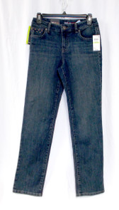 Style & Co Womens Petite Prefaded Riveted Straight Leg Mid Rise Jeans Blue Shadow 4P  NWT