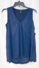 Style & Co Women's Faux Suede High-Low Tank Top Navy L NWT