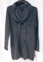 Style Co. Charcoal Heather Crochet Knit Fringe Hem Long Sleeve Tunic Sweater S NWT